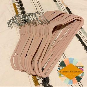 Other - Lot of 25 Velvet Pink No Slip Slim Hangers